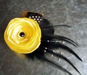 Yellow Flower Feather Hair Clip