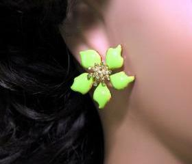 SALE Peridot Green Flower Earrings - Post Earrings - Green Flower Earrings