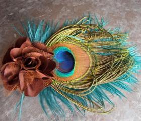 Peacock feather hair accessory