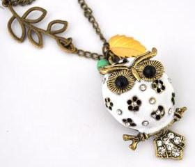 white owl necklace antique bronze necklace vintage style leaf necklace long necklace