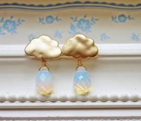 Matte Gold Rain Cloud Earrings. Rain Drops. Rainy Season