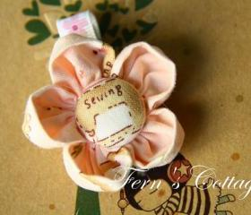 Fabric Flower Hair Clip - Pink Colour 