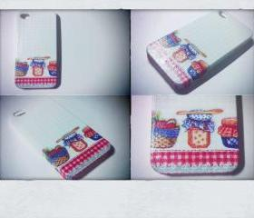 Let's Go Picnic iPhone4 and 4s Case/Cover Handmade Decoupage