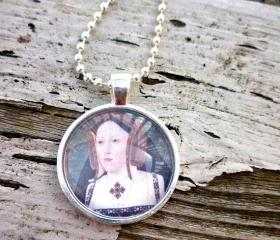 Tudor Necklace. 1 inch round glass pendant. Silver metal bezel frame. Katherine of Aragon. photo Pendant. Glass Pendant necklace.