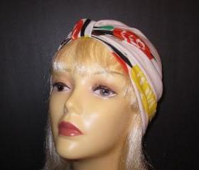 White with Retro Flowers in Brown Orange Yellow Stretch Knit Chemo Turban Hat Hijab-Free Shipping in the USA