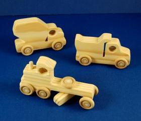 Construction Party Favors - Package of 9 Wood Toy Construction Vehicles