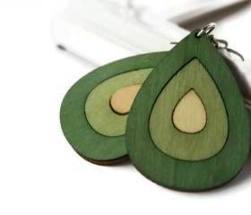 Green Wood Earrings in Teardrop Shape. Green and Beige Big Statement Earrings.Nickel Free Hooks.