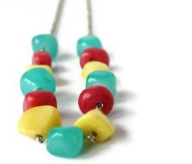 Bohemian Necklace in Aqua, Pink and Yellow. Perfect Summer Fashion.