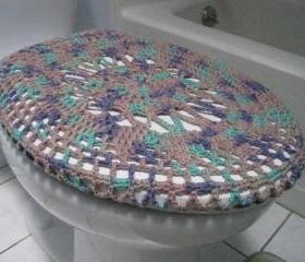 Crochet Toilet Seat Cover, Toilet Seat Cozy - Shadow Ombre (TSC5)