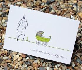 A6 Christening card - green (Anonymity range)