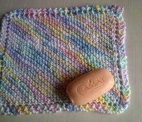 Wash cloth or Dish cloth - 100% cotton, pastel mult-coloured - Excellent for Exfoliating.
