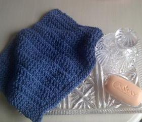 Blue Cotton Wash or Dish cloth - Hand Knitted in Scotland