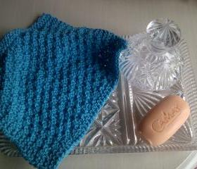 Turquoise Cotton Wash/Dish cloth - Hand Knitted in Scotland