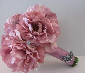 Silk Bridal Bouquet - Antique Rose Peonies with Rhinestones
