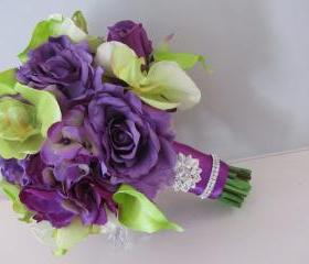 Real Touch Silk Bridal Bouquet - Purple and Green Orchids, Calla Lilies, Roses and Hydrangea with Rhinestone Accents