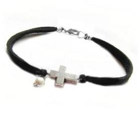 Silver Cross Bracelet Wire Wrapped Black Leather Suede Dangle Bead Jewelry Birthday wedding