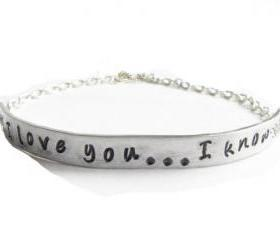 I love you I know Star Wars Quote Hand Stamped Bracelet Silver Plated Chain linked Jewelry