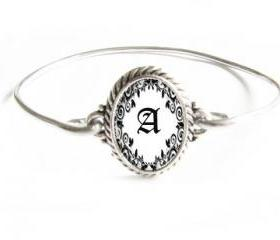 Wire Wire Initial Bracelet Silver Wire Wrapped Bangle Jewelry Black & White