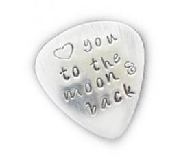 Guitar Pick Love you to the moon and back Hand Stamped Music Lovers Men Gift for Him Birthday