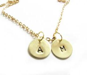 Brass Initial Necklace Hand Stamped Personalized Charm wedding bride