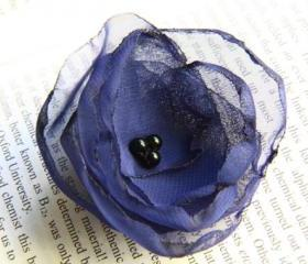 Royal Blue Fabric Flower Bobby Pin - Set of 2