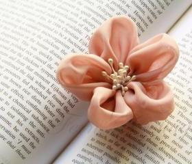 Fabric Flower Hair Clip and Brooch - Bridal Accessories - Wedding Favor - Shell Colour