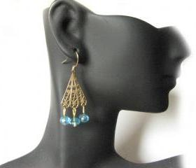 Gold Filled Filigree Earrings Your Choices of Bead Pearl Dangles Triangle Jewelry