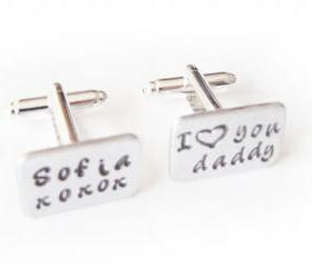 3/4 Men Cufflinks Name Hand Stamped Cuff links Wedding personalized keepsake father Gift Aluminum or Brass