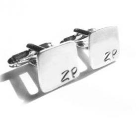 Square Hand Stamped Men Cufflinks personalized keepsake gift for him guys Father Wedding custom square cuff links