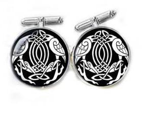 Celtic Cufflinks Black White personalized Wedding keepsake gift for him guys men father cuff links