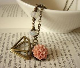 Diamonds and Floral Milky White and Antique Bronze Necklace