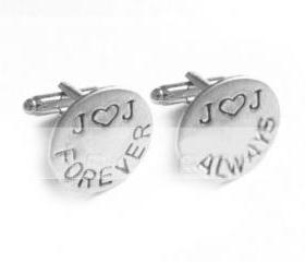 Love Forever Cufflinks Initial Heart Hand Stamped Men Cuff links Wedding personalized keepsake Gift for him aluminum or brass or copper