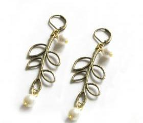 Leaf Earrings Lever Back Open Leaf Pearl Dangle Jewelry wedding birthday graduation