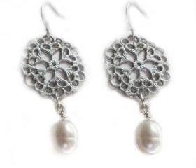 Filigree Earrings Sterling Silver Dangle Jewelry wedding birthday graduation