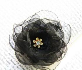 Black Organza Flower Hair Clip and Brooch
