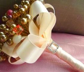 Gold and Blush with Salmon Glass Bead, Crystal and Pearl Alternative Bouquet and Boutonniere