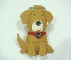 Max the Golden Retriever leather charm ( Brown )