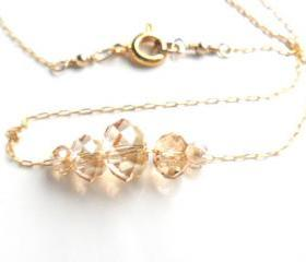Gold Carrie necklace, Delicate dainty 14K gold chain, swarovski crystals golden shadow, everyday simple jewelry, minimalist, under 30