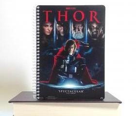 Thor Movie Notebook Recycled Upcycled Spiral Bound Jounal Left - Handed