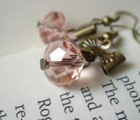 Romantic Princess Dusty Pink Bow Earrings