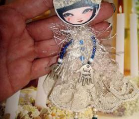 Doll Brooch , OOAK Brooch 'Dotty Doll'. Opera Girl.