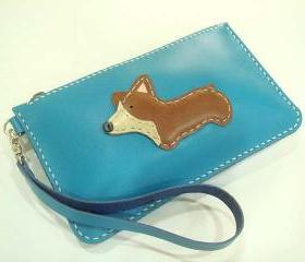 NaNa the Corgi leather Wristlet ( Turquoise )