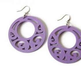 Lilac Earrings. Boho earrings with wood beads.