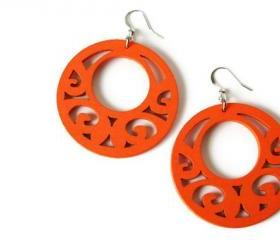 Wood Earrings in Tango Orange. Boho Style Earrings. Neon Earrings