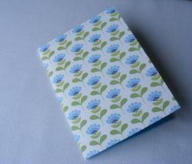 A6 Handmade and Handstitched Notebook with Blue and Green Flowers and Plain Blue Pages