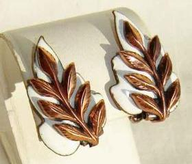 Vintage 50s Mastisse Renoir Modernist Enamel Copper Leaf Earrings