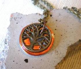 Tree of Life Necklace: Fiery Orange