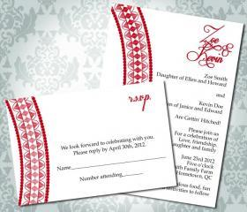 Wedding Invitation - Henna Inspired - Party Invitation and RSVP - Custom