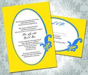 Wedding Invitation - Flourish Circle Embelishment - Party Inviation and RSVP - Custom