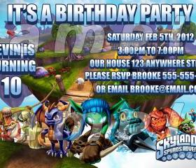Skylanders Personalized Custom 4x6 Photo Birthday Party Invitations
